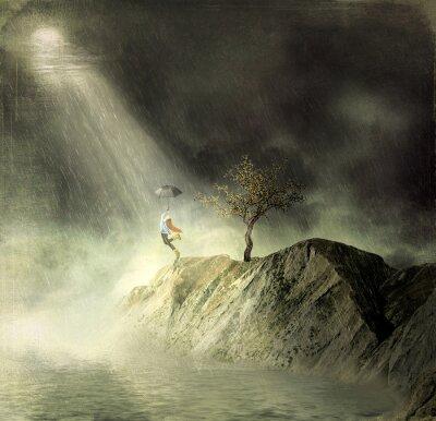 Obraz Obrázek ukazuje dívka na horském of.A dívka s deštníkem tance v dešti