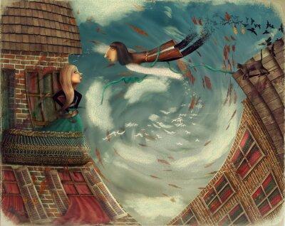 Obraz Obrázek ukazuje muže v sky.He vyroste bird.A dívka stojí na balkoně a vypadá v nebi