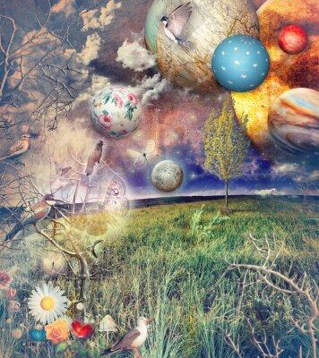 Obraz Očarovala země s ptáky a květiny