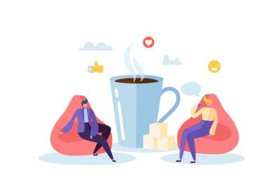 Obraz Office Lunch Time. Zaměstnanci mluví, odpočinku a pití horkých nápojů. Vektorové ilustrace