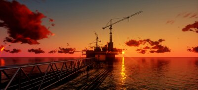 Obraz Offshore oil and rig platform in sunset time. Construction of production process in the sea. Power energy of the world..3d render
