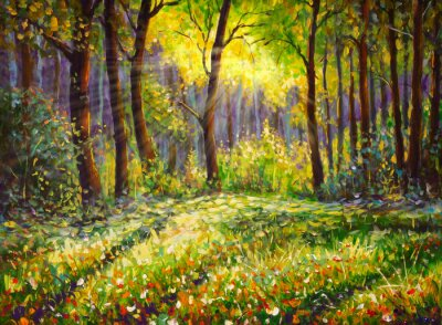 Obraz Oil painting on canvas modern impressionism Sunny forest landscape