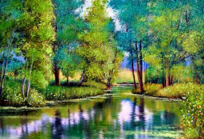 Obraz Oil paintings landscape, autumn landscape with trees and lake