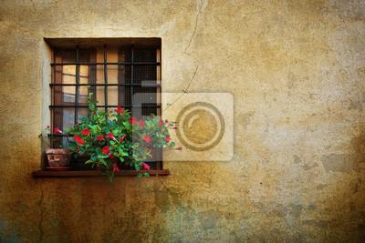 Okna u zdi města Pienza, Itálie, Toskánsko. Romantický cestovní grunge květinové pozadí.