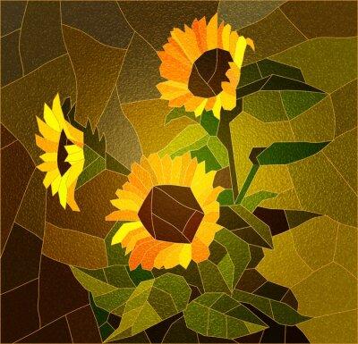 Obraz Okno z barevného skla s slunečnice