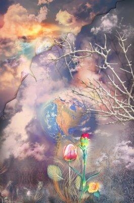Obraz Okouzlen a fantastické krajiny s řadou barevné květy