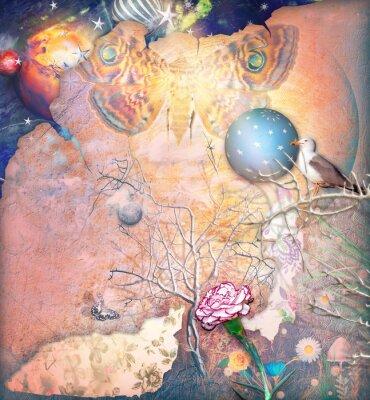 Obraz Okouzlila krajina s Okouzlený strom, karafiát a butterflye