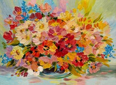 Obraz Olejomalba - barevné kytice z letních květin na abstraktní pozadí