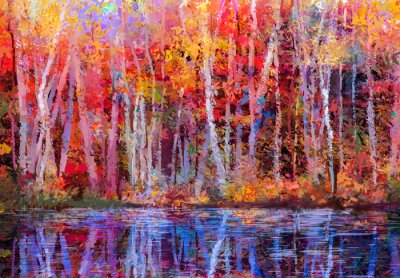 Obraz Olejomalba barevné podzimní stromy. Semi abstraktní obraz lesa, osiky stromy s žlutá - červená listem a jezera. Podzimu, pádě sezóně příroda na pozadí. Ručně malované Impressionist, venkovní terén