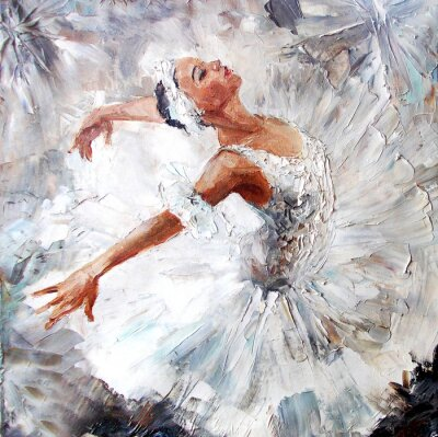 Obraz olejomalba, dívka baletka. malovaná roztomilé baletka tanec