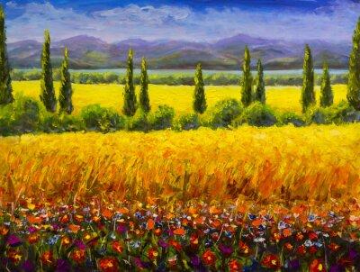 Obraz Olejomalba Italská letní toskánsko krajina, zelené cypřišovité keře, žluté pole, červené květy, hory a modrá obloha umělecká díla obrázek na plátně