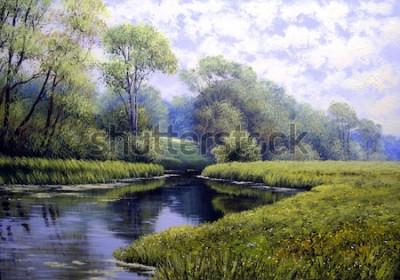 Obraz Olejomalba krajina, barevné letní les, krásná řeka