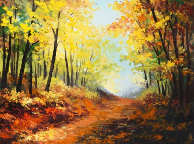 Obraz Olejomalba krajina - barevné podzimní les