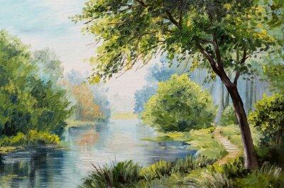 Obraz Olejomalba krajina - barevný les