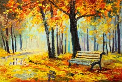 Obraz Olejomalba krajina - barevný podzim les