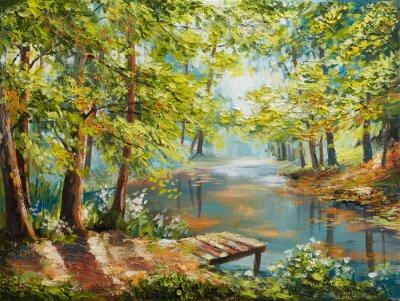 Obraz Olejomalba krajina - podzimní les poblíž řeky, oranžové listy