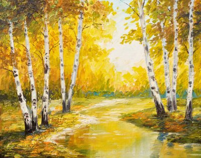 Obraz Olejomalba krajina - podzimní les u řeky, oranžové listy
