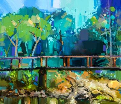 Obraz Olejomalba krajina s dřevěným mostem přes potok v lese. Ručně malované Barevné léto les se žlutou a modrou barvou zelené-