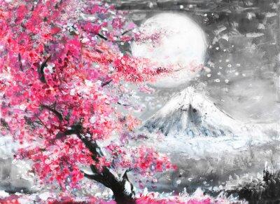 Obraz olejomalba krajina s sakury a hory, ručně kreslenými ilustrace, Japonsko