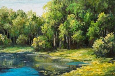 Obraz Olejomalba krajiny - jezero v lese, letní den