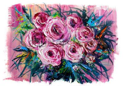 Obraz Olejomalba kytice růží. Impresionistický styl.
