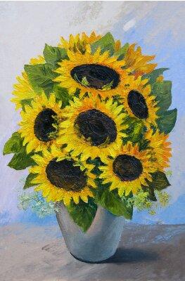 Obraz Olejomalba - kytice slunečnic v vázu na abstraktní pozadí, krásné květiny