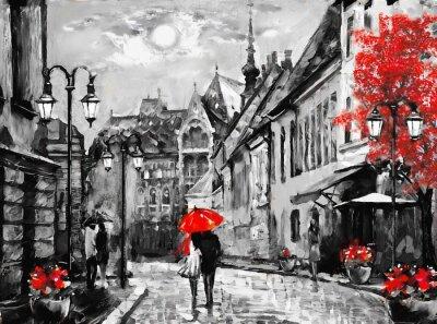 Obraz Olejomalba na plátně evropské město. Maďarsko. Pohled na ulice Budapešti. Umělecká díla. Lidé pod červeným deštníkem. Strom. Nigrht a měsíc.