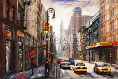 Obraz olejomalba na plátně, pohled z New Yorku, žena pod velkým deštníkem, žlutá taxi, moderní umělecká díla, americké město, ilustrace New York