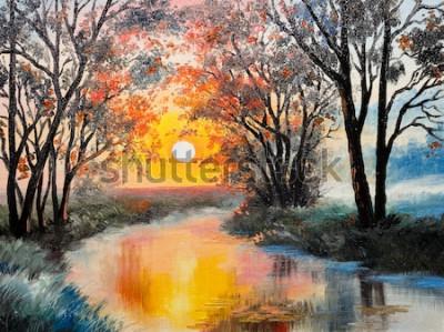 Obraz olejomalba na plátně - řeka
