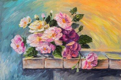 Obraz Olejomalba na plátně - zátiší květiny na stole