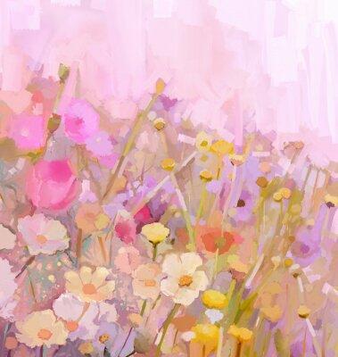 Obraz Olejomalba pole květiny, měkké barevné rozostření styl
