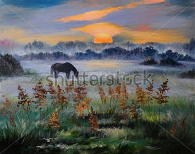Obraz Olejomalba pole při západu slunce