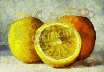 Obraz Olejomalba pomeranče ovoce na bílém