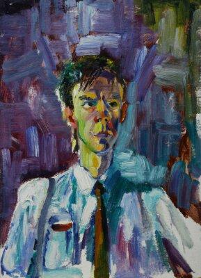 Obraz Olejomalba portrét s mužské portrét v pestrých barvách na plátně