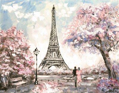 Obraz Olejomalba, Street View od Paříže. Výběrové řízení na šířku, na jaře