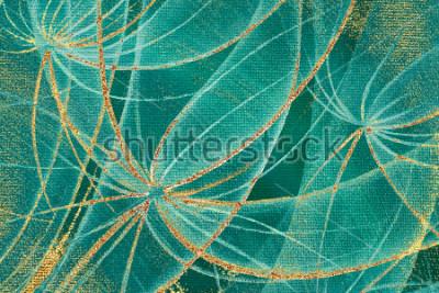 Obraz Olejomalba textury pozadí abstraktní pampelišky květiny se zlatými pruhy na pozadí pro design, tapety, keramické dlaždice, hraniční rám, dřevěný panel.
