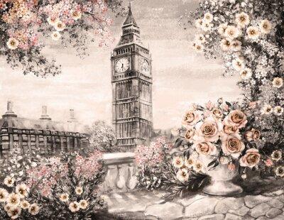 Obraz Olejomalba, v létě v Londýně. jemný městskou krajinu. květ růže a listí. Pohled z výše uvedeného balkon. Big Ben, Anglie, tapety. akvarel moderní umění. Sépie