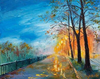 Obraz Olejomalba večerní podzimní ulice