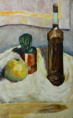 Obraz Olejomalba zátiší s kaktusy jablečným lahví alkoholu v impressionisty stylu na plátně