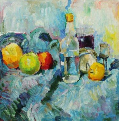 Obraz Olejomalba. Zátiší s lahví a jablky v tkáňovém pozadí