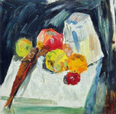 Obraz Olejomalba. Zátiší s rybami a jablky na stole