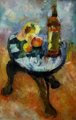 Obraz Olejomalba zátiší se na židli jablek a broskví ve stylu impresionismu v jasných barev na plátně