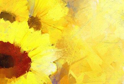 Obraz Olejomalba zlaté slunečnice na pozadí.