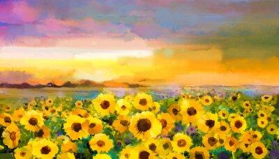 Obraz Olejomalba žluto zlatá slunečnice, sedmikráska květy v polích. Západ slunce louka krajiny s wildflower, kopce a oblohu v oranžové, modré fialové pozadí. Hand Paint léto květinový Impressionist styl