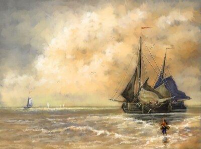 Obraz Olejomalby krajina, moře, lodě, loď
