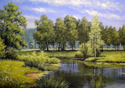 Obraz Olejomalby krajina, řeka a stromy, rybník, umění
