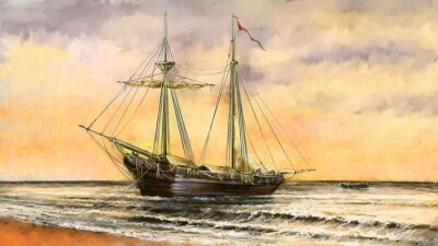 Obraz Olejomalby mořské krajiny. Lodě, loď, rybář.Digitální umění