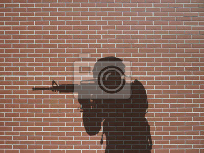 ombre de soldat sur briques rtěnky