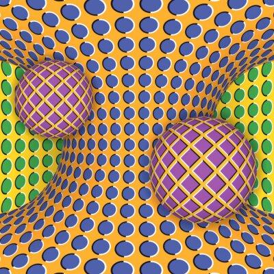 Obraz Optická iluze otáčení dvou koulí kolem pohybujícího se hyperboloidu. Abstraktní pozadí.