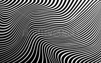 Obraz optické umění abstraktní pozadí vlna design černé a bílé